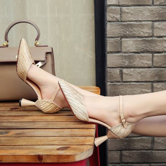 Latest Fashion Low Heels Pointed Toe Casual Sandals-Beige image