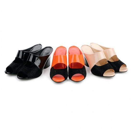 Latest Hollow Rough High Heels Casual Slippers-Black image