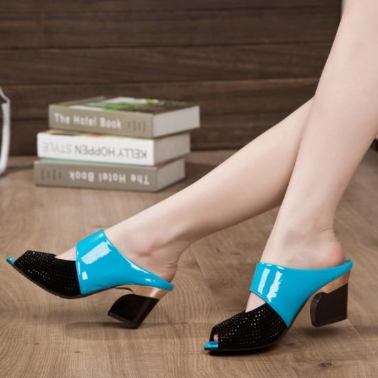 Latest Hollow Rough High Heels Casual Slippers-Blue image