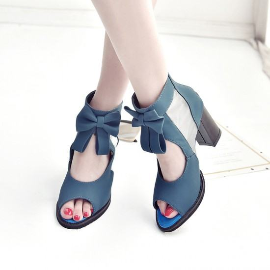Waterproof Thick Platform With Bow Tide Sandals-Blue image