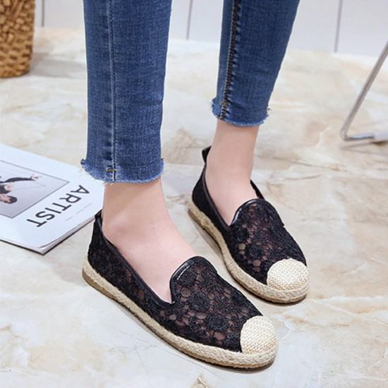 Flat Platform Breathable Lace Sneaker Shoes-Black image