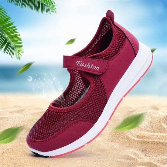 Non Slip Breathable Walking Sports Shoes-Red image