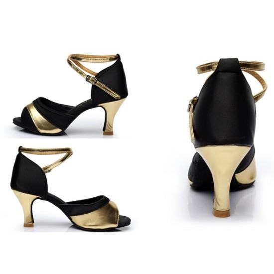 Soft Bottom Latin Shining Leather Heels Sandals-Gold image