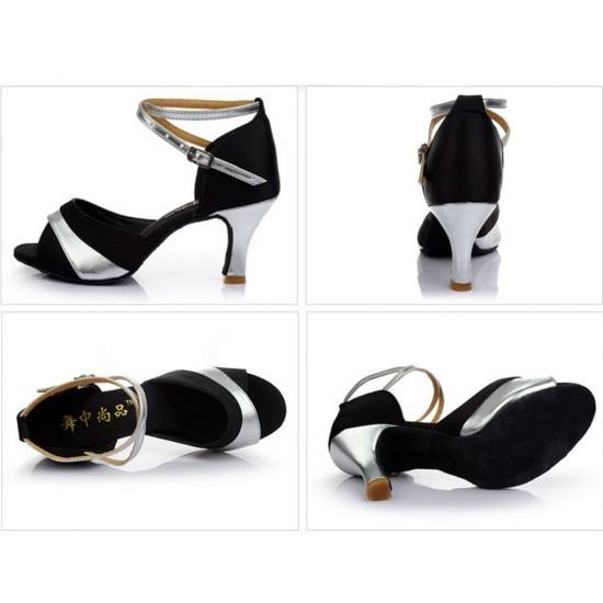 Soft Bottom Latin Shining Leather Heels Sandals-Silver image