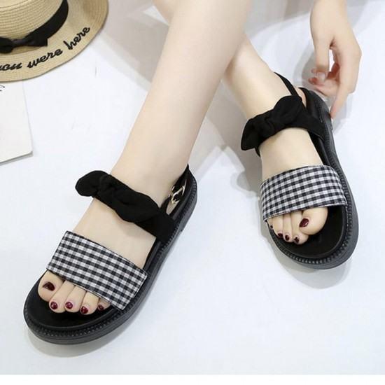 New Low Heel Round Head Light weight Sandals-Black image