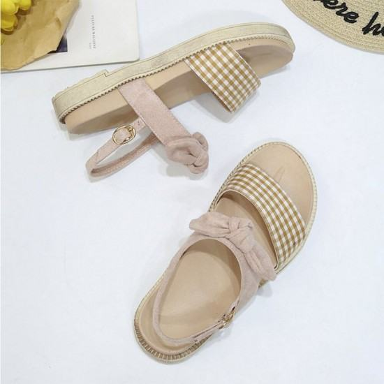 New Low Heel Round Head Light weight Sandals-Cream image