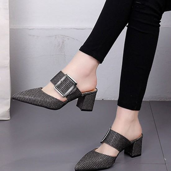 Elegant Style High Heeled Belt Buckle Slippers-Black image