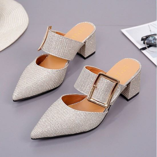 Elegant Style High Heeled Belt Buckle Slippers-Silver image