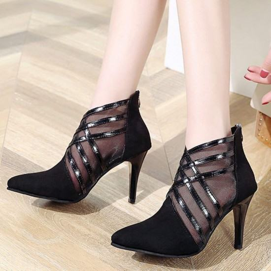 New Hollow Mesh Checkered Stiletto High Heel Shoes-Black image