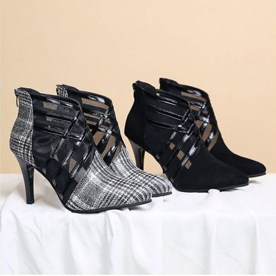 New Hollow Mesh Checkered Stiletto High Heel Shoes-Grey image