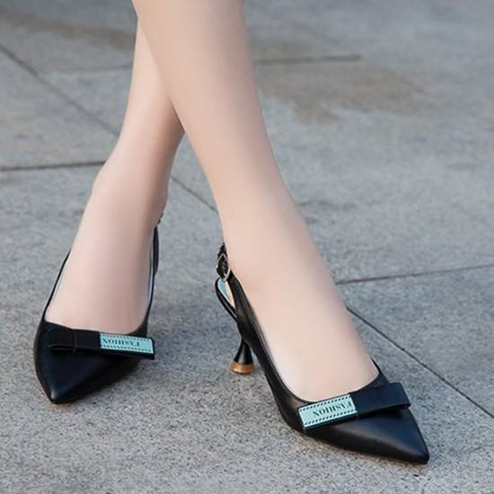 Latest Trend Stiletto Heels Pointed Toe Casual Sandals-Black image