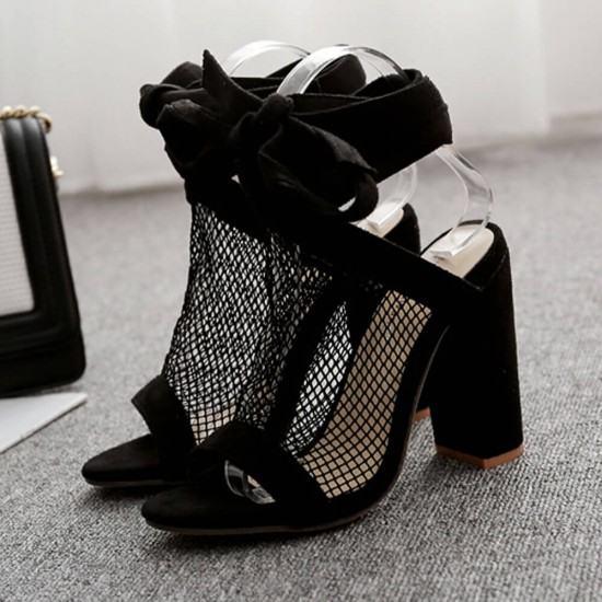 European Trend Bandage Ankle Strap Suede High Heeled-Black image