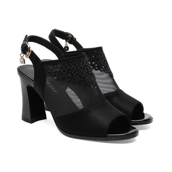New Fashion Rhinestone Word Buckle Thick High Heel Sandals.Black image