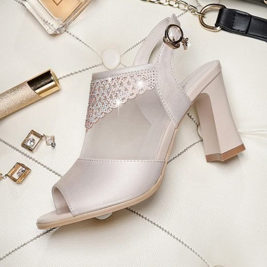 Buy New Fashion Rhinestone Word Buckle Thick High Heel Sandals-Gold image