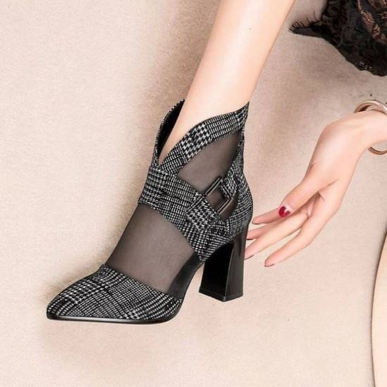 New Pointed Mesh Checkered Baotou High Heel Shoes-Black image