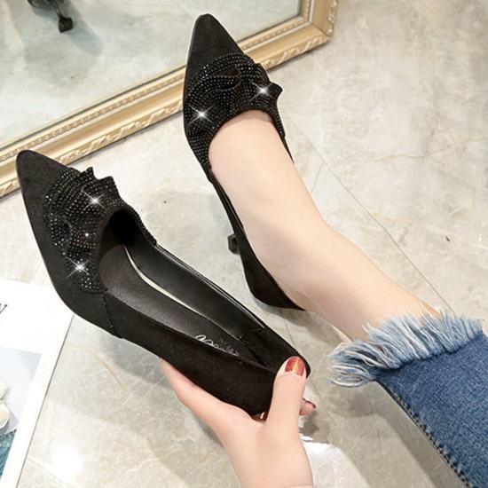 Rhinestone Designed Sweet Shallow Mouth 3cm Low Heel Shoes-Black image