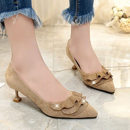 Rhinestone Designed Sweet Shallow Mouth 3cm Low Heel Shoes-Brown image