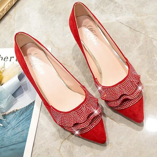 Rhinestone Designed Sweet Shallow Mouth 3cm Low Heel Shoes-Red image