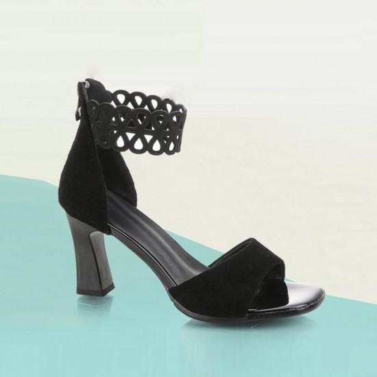Open Toed High Heeled Zipper Sandals For Women-Black image