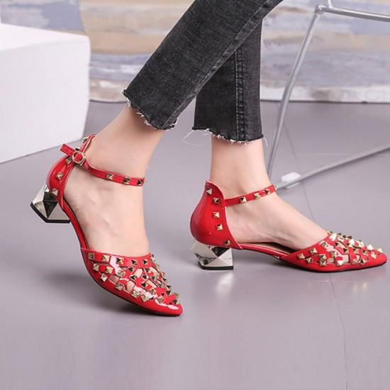 New Style Pointed Hollow Word Buckle Rivet Heels Sandals-Red image