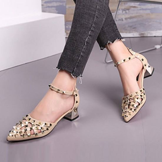 New Style Pointed Hollow Word Buckle Rivet Heels Sandals-Brown image