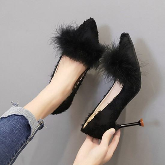 Shallow Mouth New Fluffy Plush Wild Hair Heel Shoes-Black image