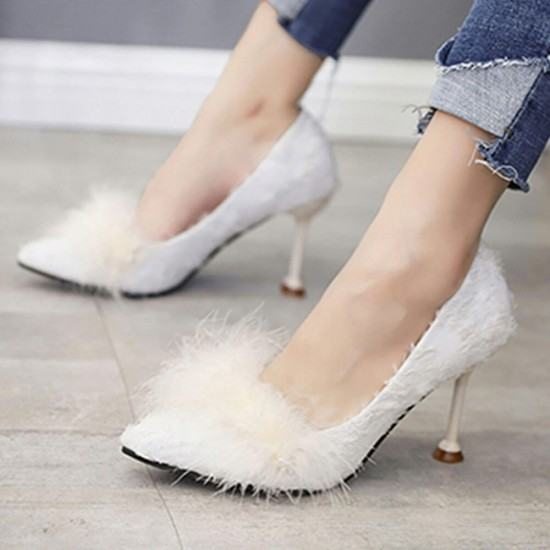 Shallow Mouth New Fluffy Plush Wild Hair Heel Shoes-White image