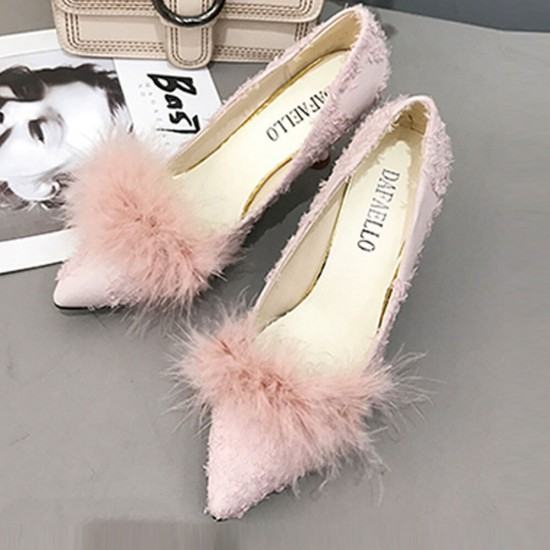 Shallow Mouth New Fluffy Plush Wild Hair Heel Shoes-Pink image