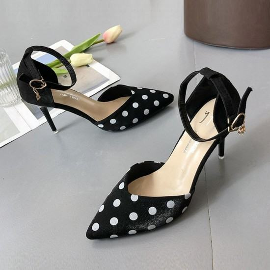 New versatile White Dots Pointed Toe Suede Leather Heel Shoes-Black image