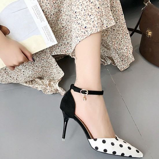 New versatile Black Dots Pointed Toe Suede Leather Heel Shoes-White image