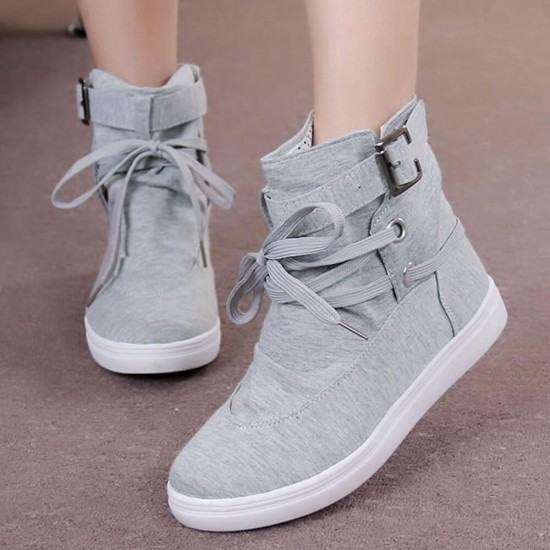 Flat Bottom Canvas Breathable Casual Sneaker Boots-Grey image