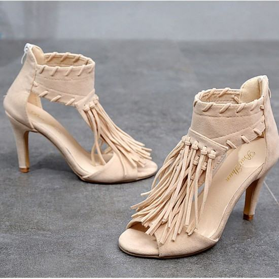 Roman Style Fish Toe Long Tassel Pencil Heels Sandals-Cream image