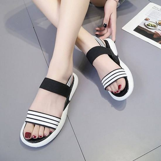 Soft Bottom Round Head Light weight Casual Sandals-Black image
