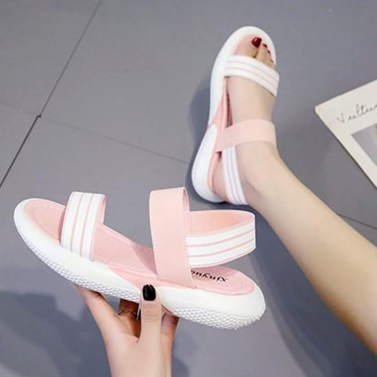 Soft Bottom Round Head Light weight Casual Sandals-Pink image