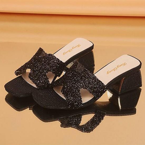 Elegant Fashion Comfortable High Bottom Shining Slippers-Black image