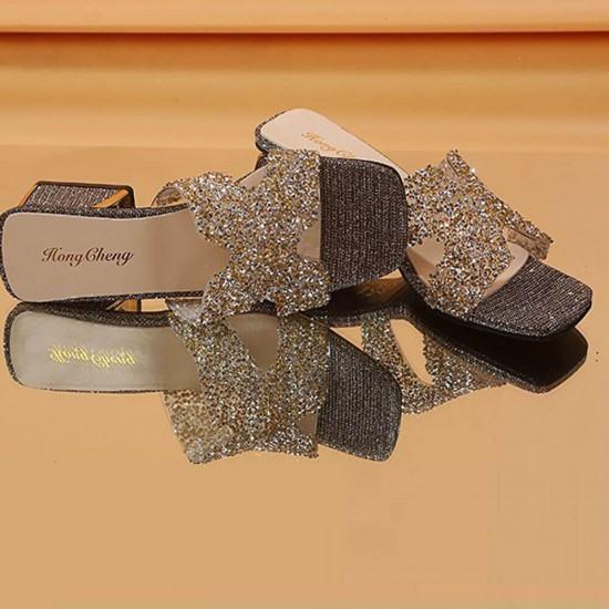 Elegant Fashion Comfortable High Bottom Shining Slippers-Gold image
