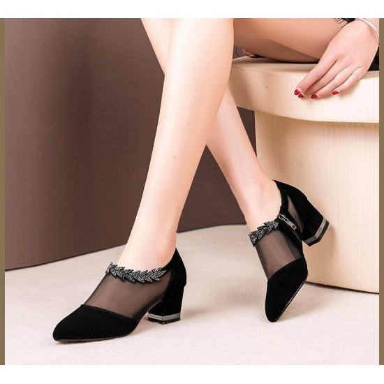 Mid Bottom Lace with Net Breathable Casual Shoes-Black image