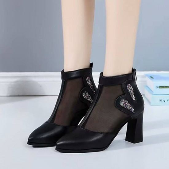 Breathable Mesh Hollow High Heel Casual Boots-Black image