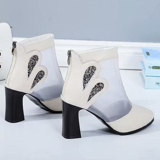 Breathable Mesh Hollow High Heel Casual Boots-White image