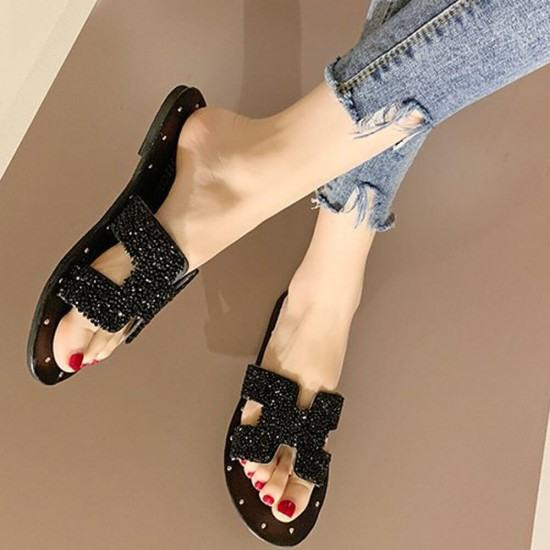 H Style Comfortable Flat Bottom Shining Slippers-Black image