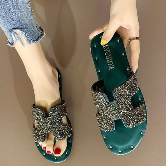 H Style Comfortable Flat Bottom Shining Slippers-Green image