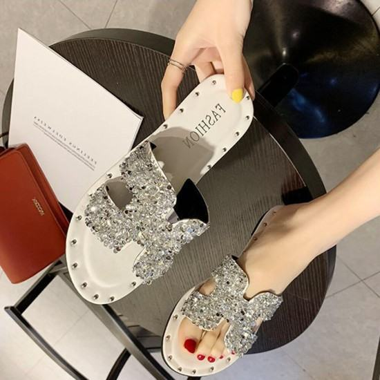 H Style Comfortable Flat Bottom Shining Slippers-Silver image