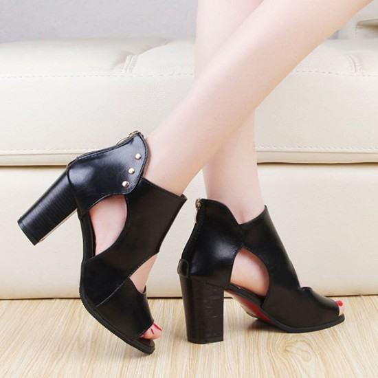 Roman New Style Soft Leather High Heels Sandal-Black image