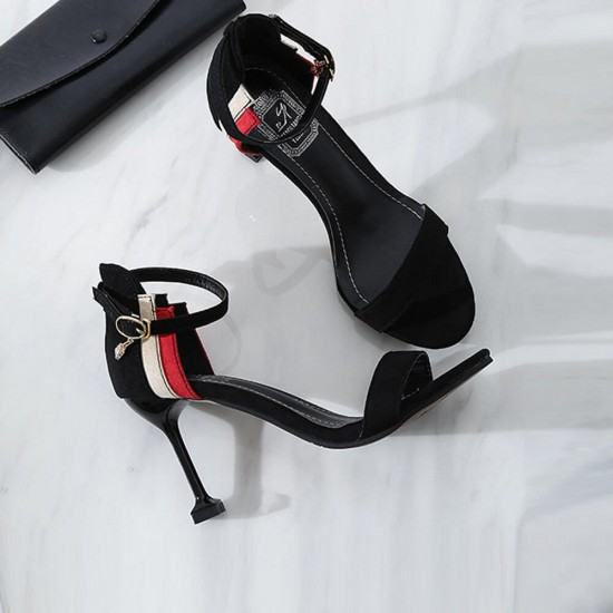 Wine Glass Style High Heel Open Toed Sandals For Women-Black image
