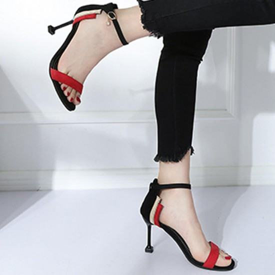 Wine Glass Style High Heel Open Toed Sandals For Women-Red image