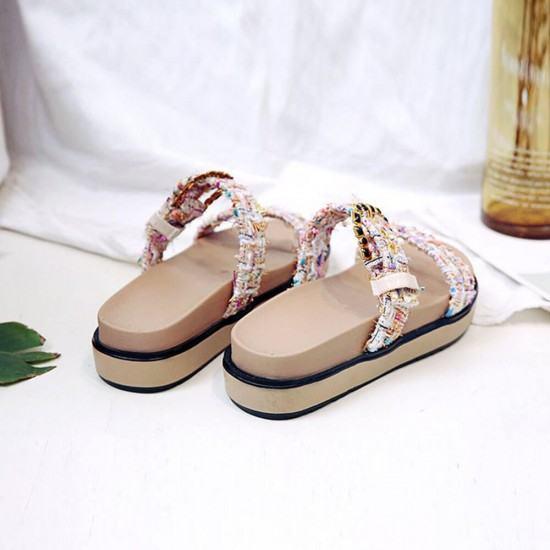Flip Flop Rhinestones Thick Bottom Casual Wear Slipper-Cream image