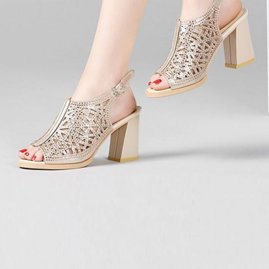 Rhinestone High Heel Style Open Toe Buckle Leather Sandals-Gold image