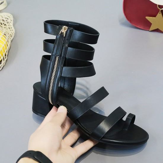 Roman Fashion Thick Bottom Retro Leather Shoes-Black image