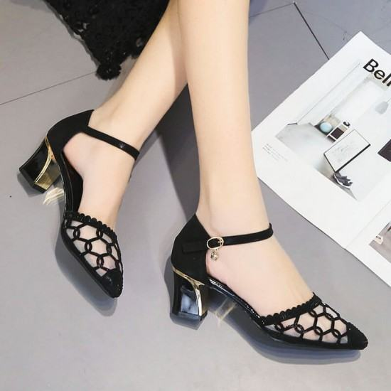 Hollow Fashion Transparent Thick Heels Sandals-Black image