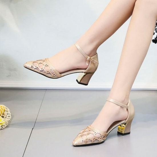 Hollow Fashion Transparent Thick Heels Sandals-Gold image